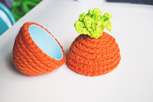 crochet carrot egg, open