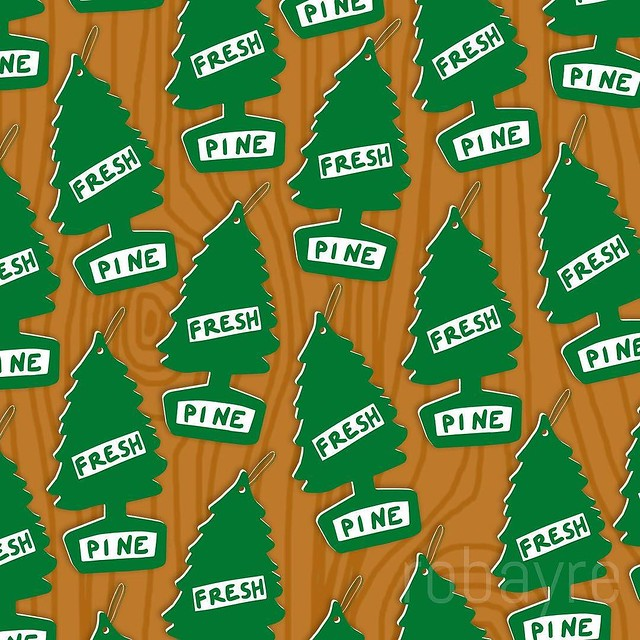 I got a jump on Week 6, #patternswithanika - the theme is Pine. The car air freshener was a sketch in bw and the rest was digital.