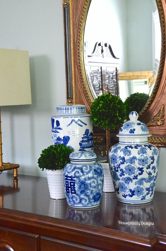 Blue and White ceramic jars - Housepitality Designs
