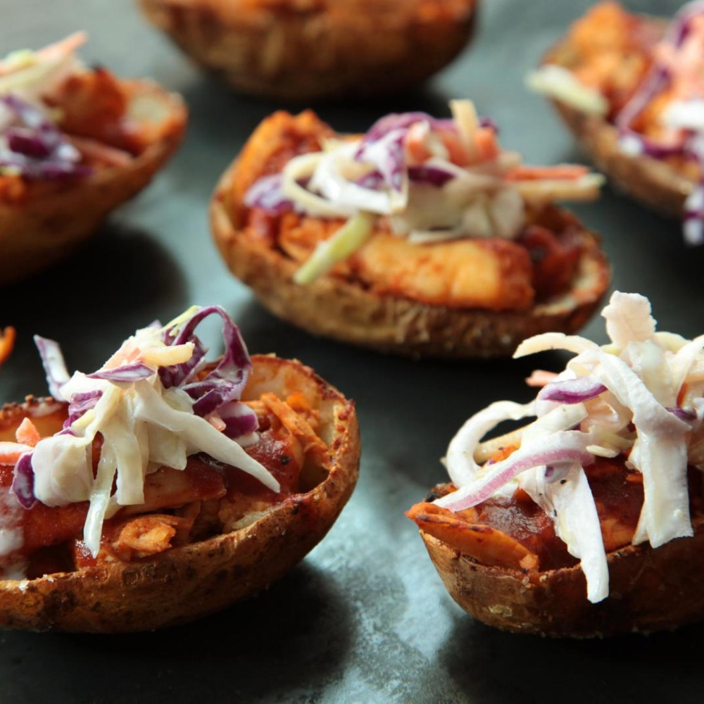 easy chicken recipes - Barbecue Chicken and Coleslaw Potato Skins