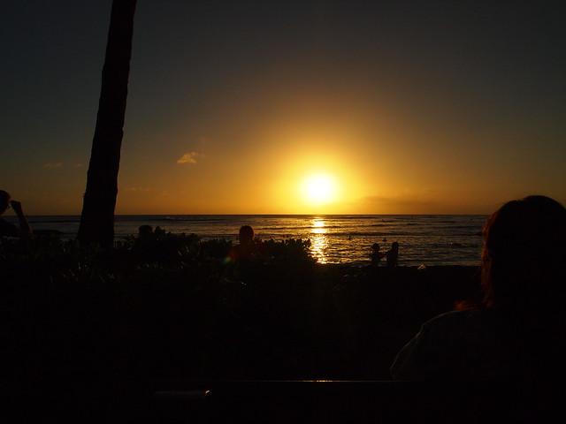 PB290633 ハワイ ワイキキビーチ サンセット hawaii waikiki beach sunset ひめごと ヒメゴト