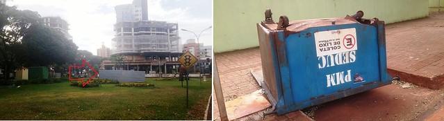 monumento praça caçamba de lixo
