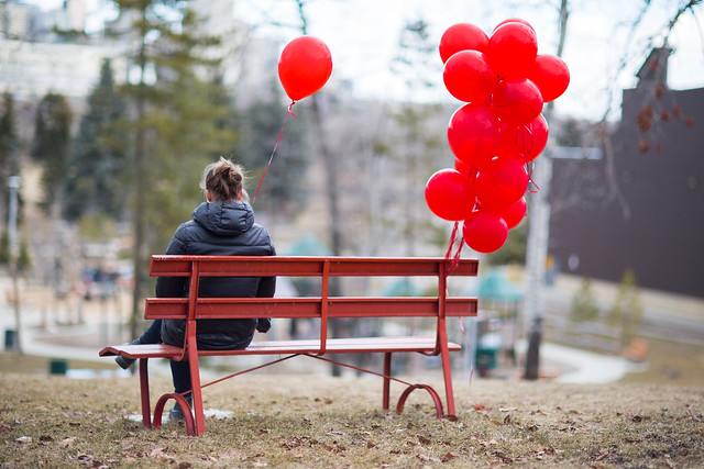 Park Bench and Balloons