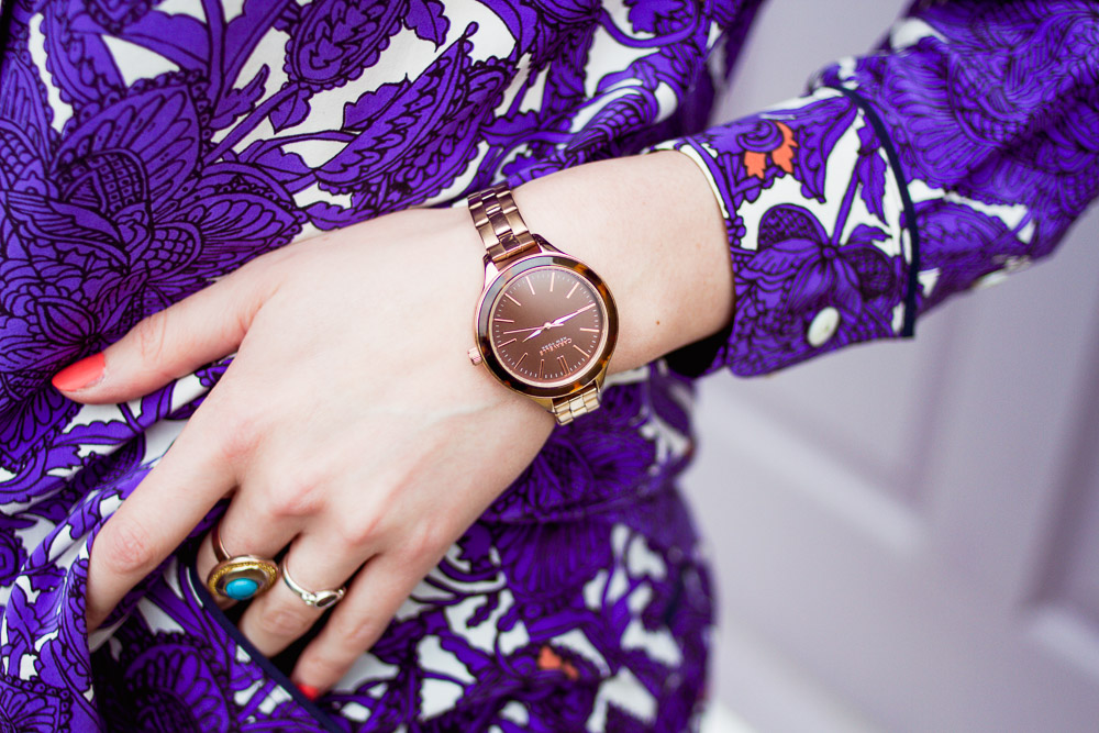 Caravelle rose gold and brown watch