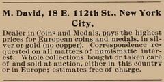 M. david ad Feb 1898 Numismatist