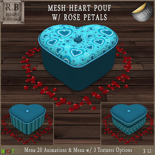 RnB Mesh Heart Pouf w Rose Petals (20 Anims) - Blue