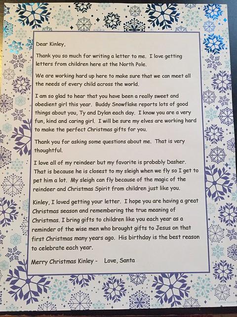 Kinley's Letter to Santa