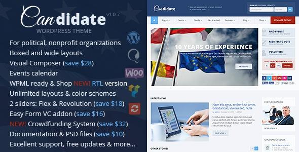 ThemeForest Candidate v2.0.5 - Political/Nonprofit Wordpress Theme