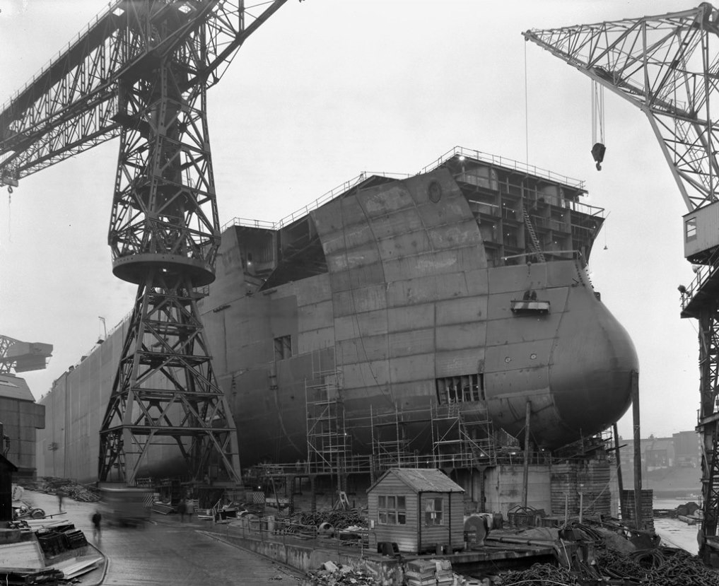 The bow of 'Naess Crusader' nears completion