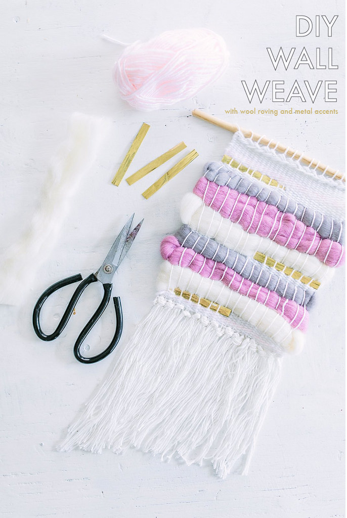 DIY Wall Weave with wool roving and metal accents