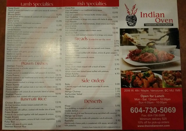 2019-Feb-19 Indian Oven - takeout menu page 1