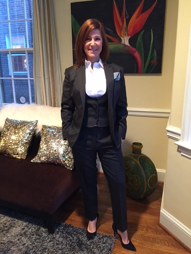 Jodi Moraru in Holland & Sherry 130's Gray Pin Stripe Suit and Vest; white Giza cotton shirt - all by The Tailored Man