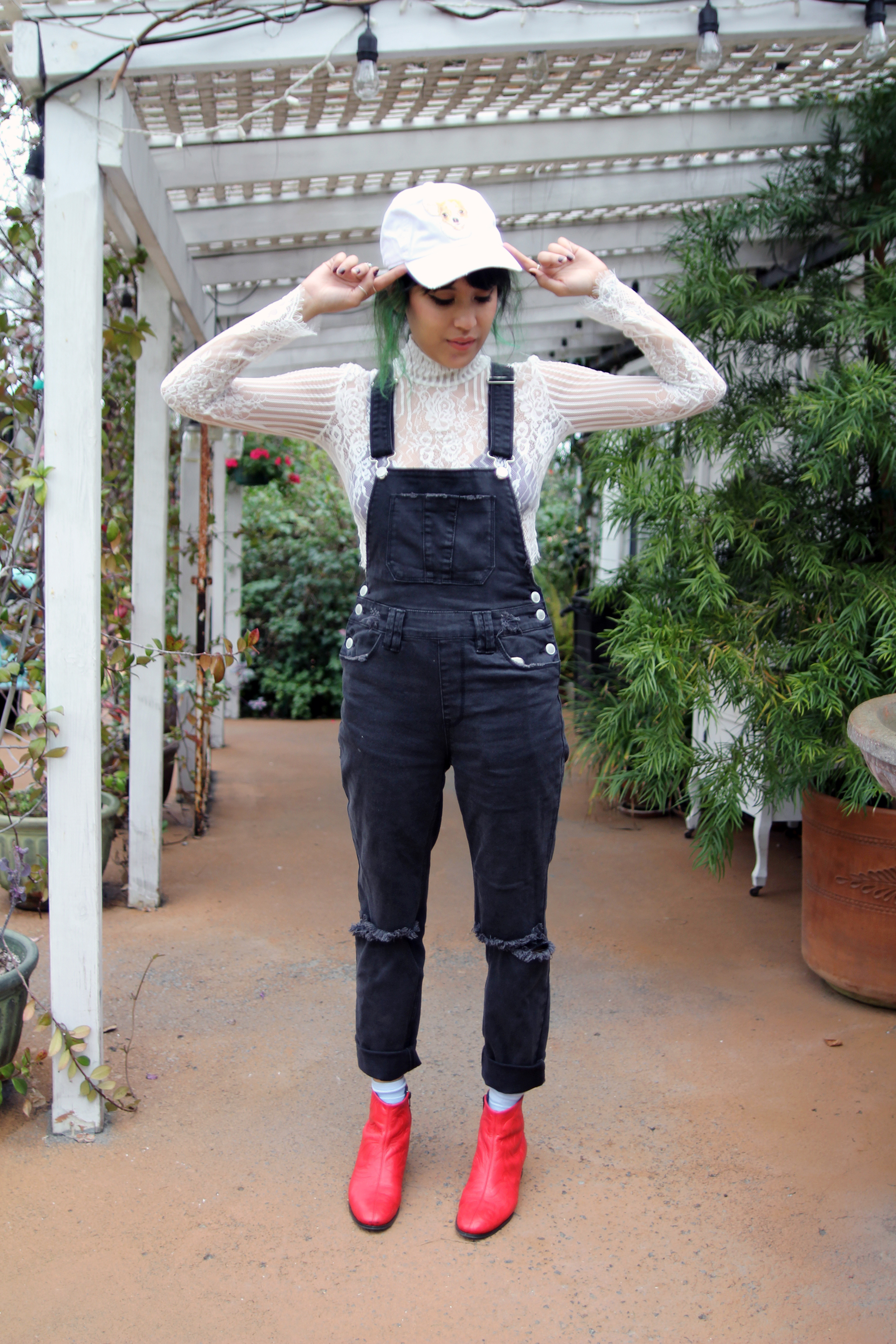Petals and Peacocks Chihuahua baseball hat,  RES denim overalls, Motel Rocks Lace Top, Matisse red boots