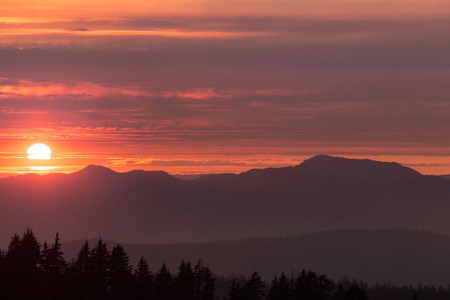 Sonnenuntergang über den Kaskaden