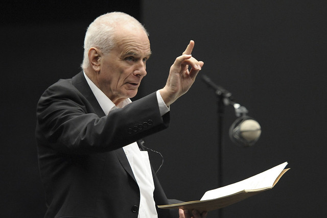 Peter Maxwell Davies overseeing the recording of Eight Songs for a Mad King by Psappha in the Digital Performance Lab at the University of Salford's MediaCityUK building
