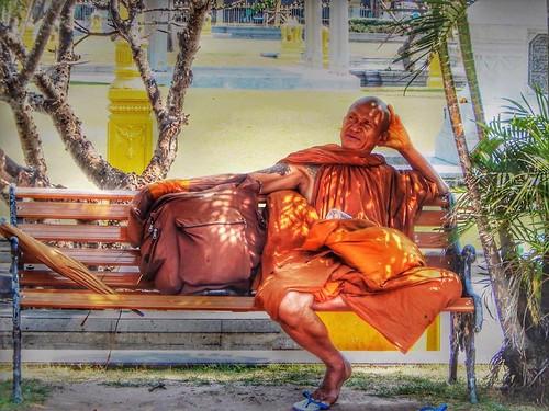 A Thai Monk relaxing