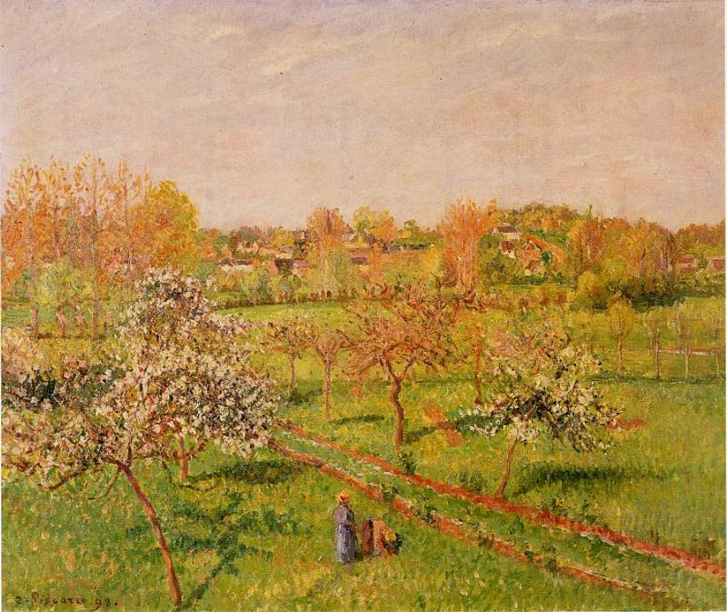 Morning, Flowering Apple Trees, Eragny by Camille Pissarro, 1898