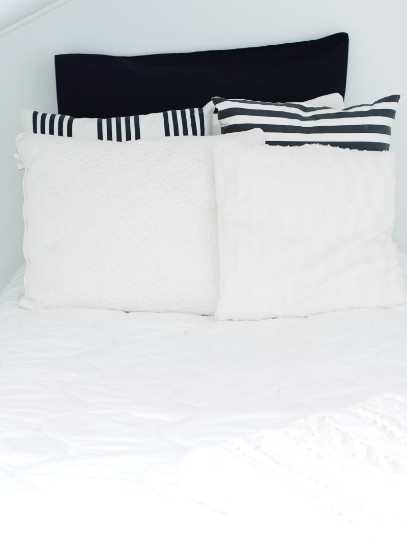 Black and white cushion set up