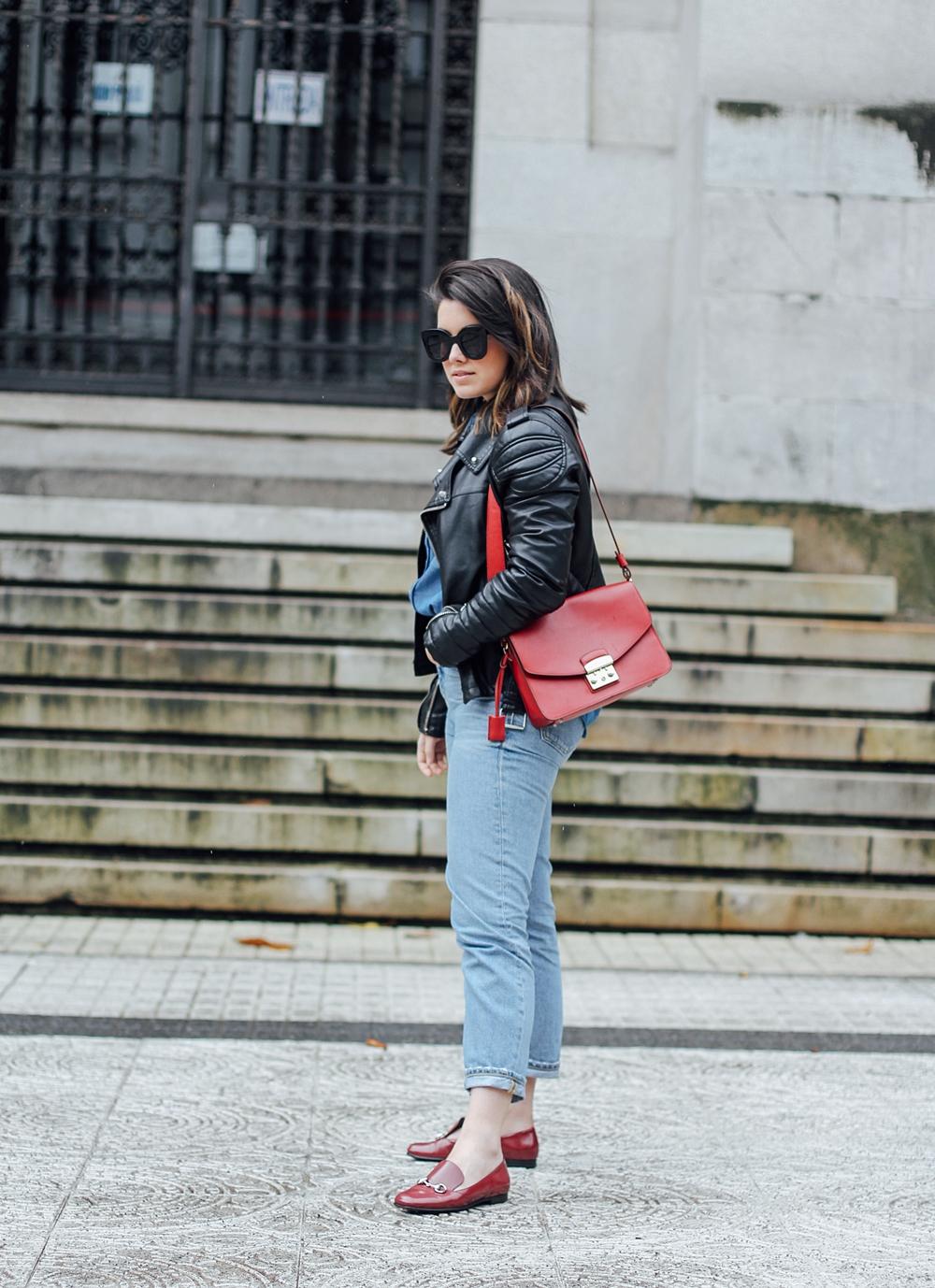 total look denim ties and heels patchwork blouse with furla metropolis bag myblueberrynightsblog