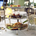 Our tier for afternoon tea and our glasses of Pommery Champagne