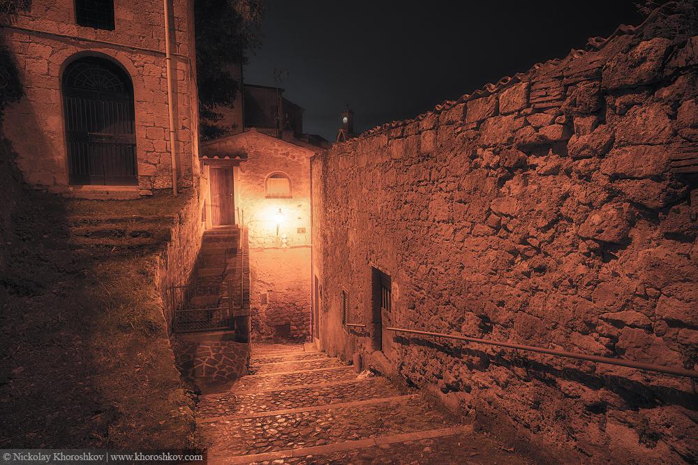 Medieval town street at night