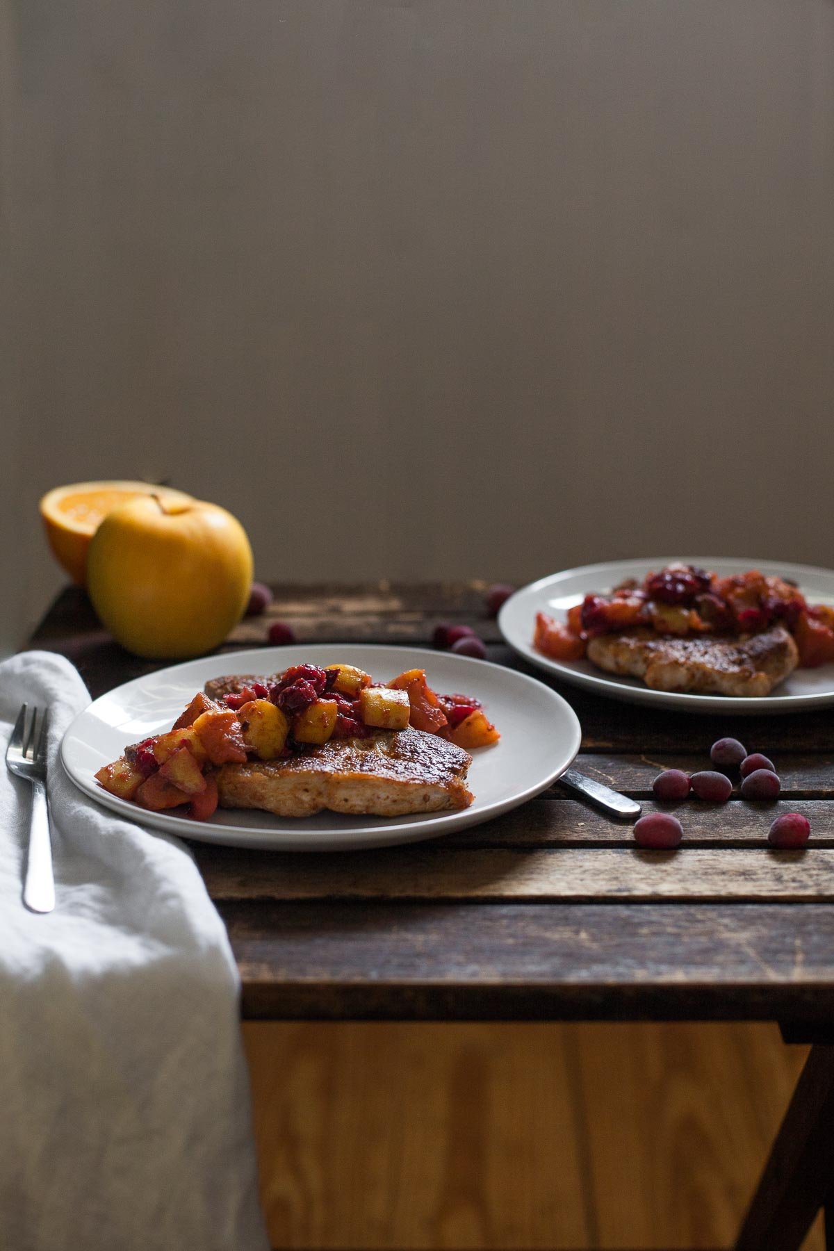 Pork Chops with Cranberry-Apple Compote (Paleo, Whole30) | acalculatedwhisk.com