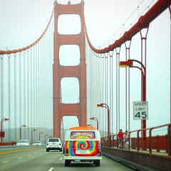 Hippy VW Van on the Golden Gate Bridge San Francisco instagram