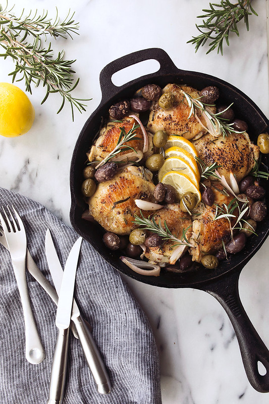 Skillet Roasted Chicken Thighs with Rosemary, Lemon and Olives