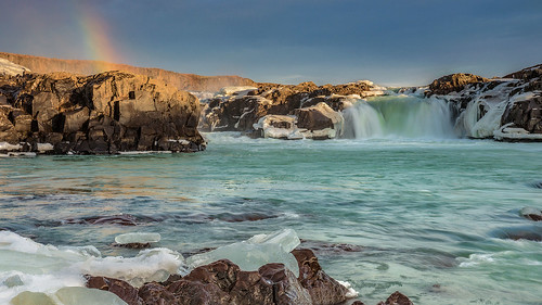 longexposure light sunlight snow ice water sunrise river landscape dawn waterfall iceland rainbow rocks glacial urridafoss