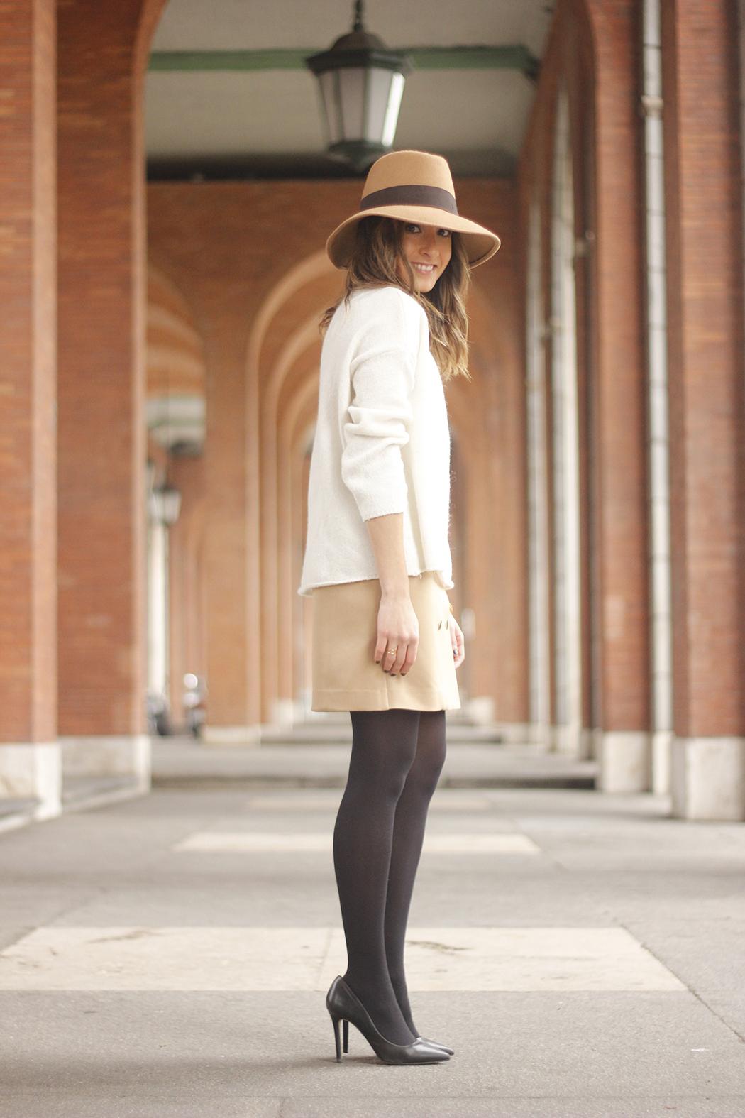 Camel Skirt Mango White Sweater Zara Camel Hat heels fashion outfit05