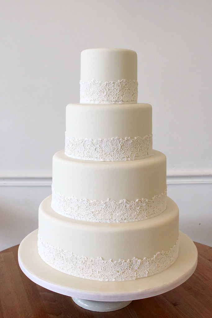 white lace wedding cake wedding cakes oakleaf cakes bake shop 27296