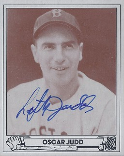 "1983 TCMA Playball 1943 - Oscar ""Lefty"" Judd #19 (Pitcher) (b. 14 Feb 1908 - d. 27 Dec 1995 at age 87) - Autographed Baseball Card (Boston Red Sox)"