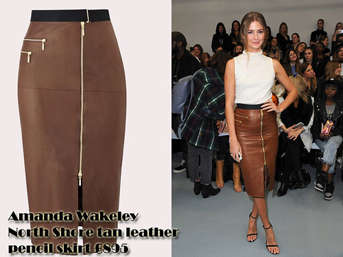 Front zip detail tan leather pencil skirt with sleeveless turtleneck: How to wear