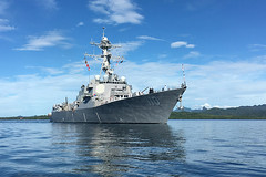 USS William P. Lawrence (DDG 110) transits Suva Harbor Feb. 10 as the ship arrives for port visit. (U.S. Navy/Lt. j.g. Janie Baird)