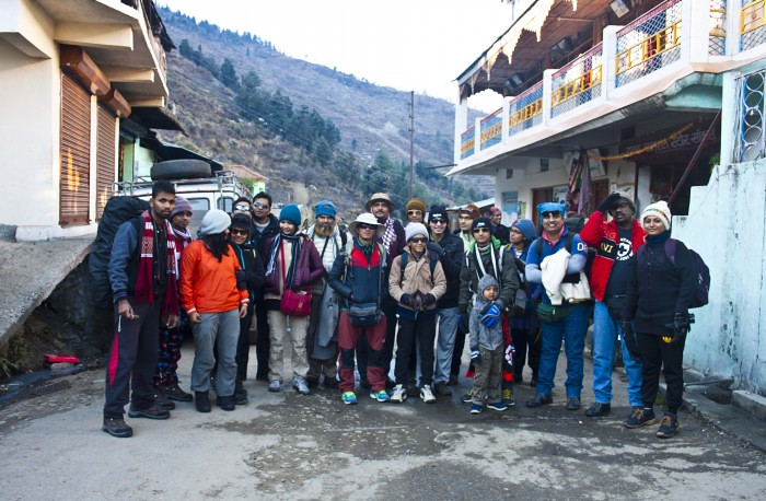 Team of Kedarkantha Trek at Sankri - During Kedarkantha Summit 2016 in Winter , Uttrakhand, India