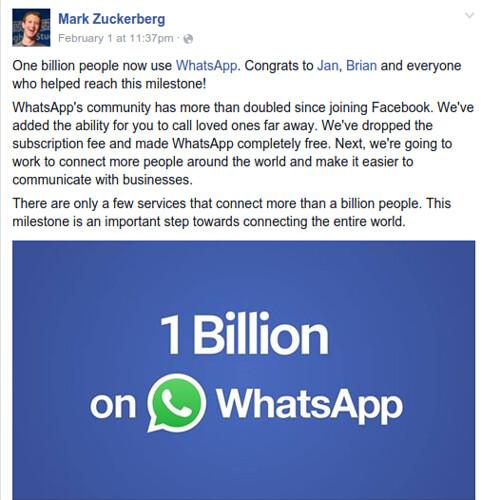 1 billion users on WhatsApp