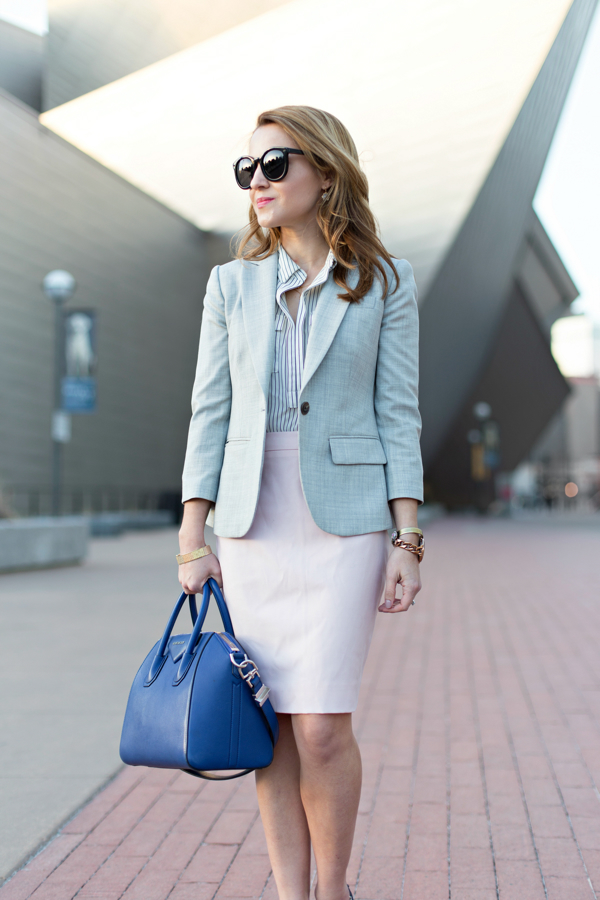 J Crew Gray Blazer + Pink Skirt Work Outfit