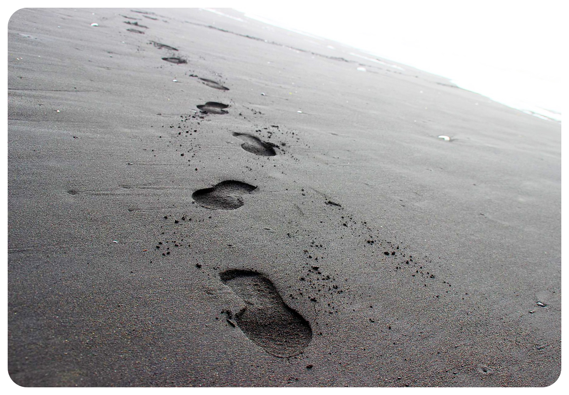 iceland south coast black sand beach vik footprints