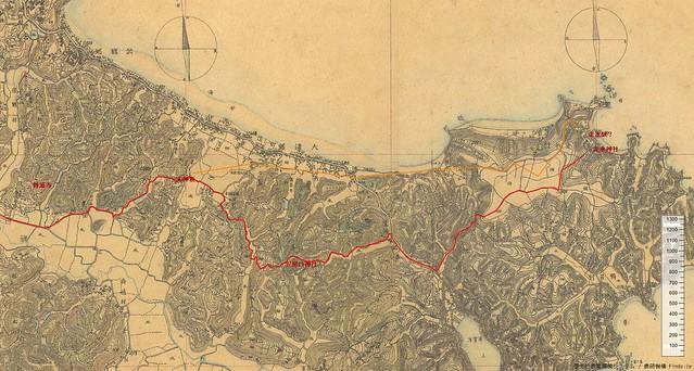 三浦半島の古代東海道ルート 迅速測図
