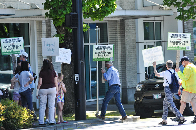 Tualatin Mtns Trail Plan protest at Metro HQ-8.jpg