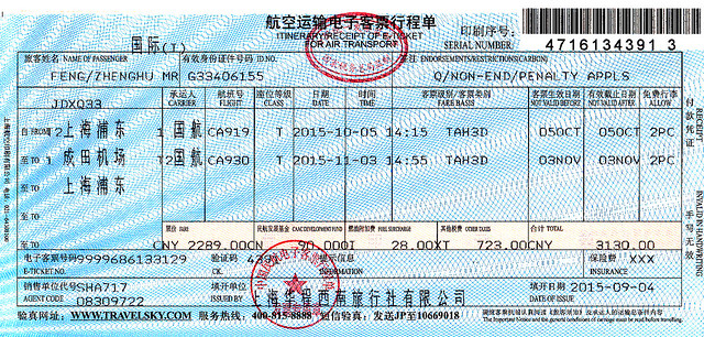 出国10-航空运输电子客票行程单