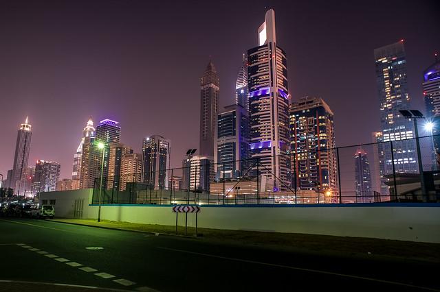 Downtown Dubai backstreet skyline
