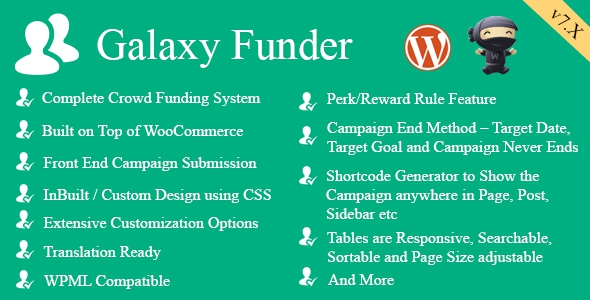 Galaxy Funder v9.5 – WooCommerce Crowdfunding System