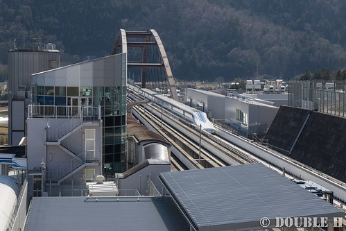 Yamanashi maglev test line view from Yamanashi Prefectual Maglev Exhibition Center