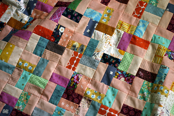 a peachy quilt top