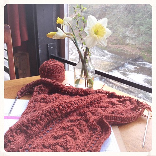 Lace, daffodils, rushing river: my weekend is off to a good start. How's yours? #bluepeninsula #knitting #knittersofinstagram #knitstagram #igknitters
