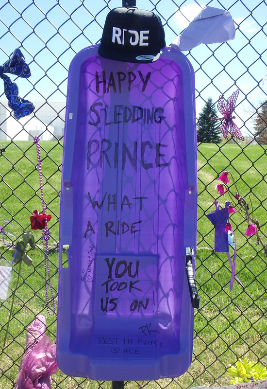 a purple sled with the words Happy sledding Prince What a ride you took us on