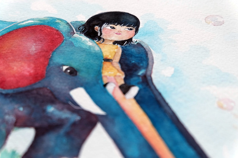 Sundae Scoops close up watercolor painting elephant slide by elaine valerie ramos