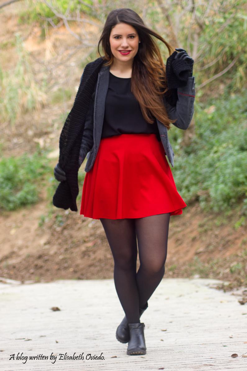 falda roja chaqueta militar mango zara look 2016 HEELSANDROSES (7)