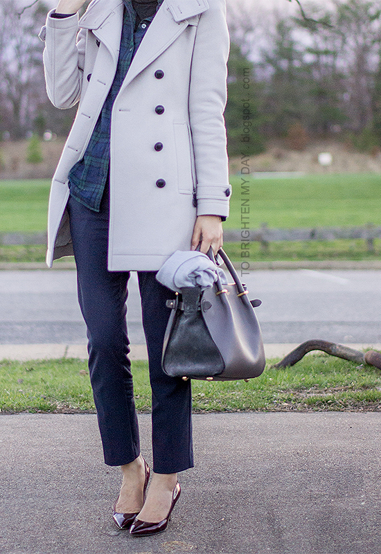 gray trench coat, green plaid shirt, navy pants, burgundy pumps